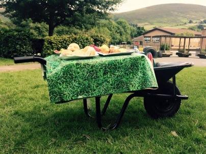 buffet on a wheelbarrow