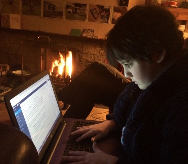 Blogging in front of the fire